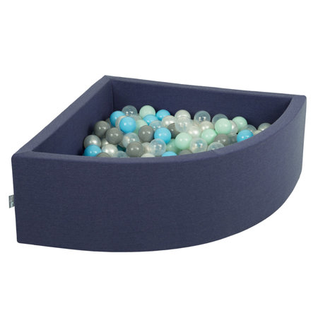 KiddyMoon Baby Foam Ball Pit with Balls ∅7cm / 2.75in Quarter Angular, Dark Blue: Pearl/ Grey/ Transparent/ Baby blue/ Mint