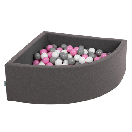 KiddyMoon Baby Foam Ball Pit with Balls 7cm /  2.75in Quarter Angular, Dark Grey: Grey/ White/ Pink