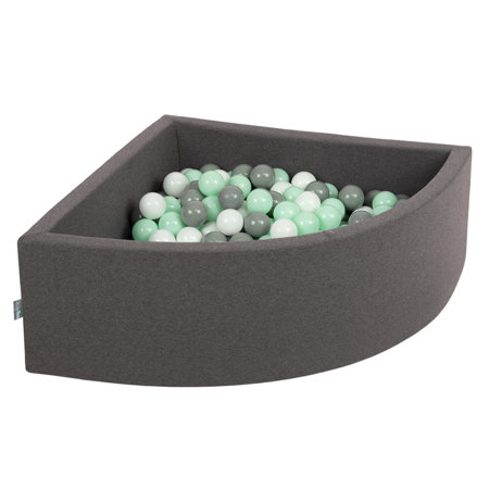 KiddyMoon Baby Foam Ball Pit with Balls 7cm /  2.75in Quarter Angular, Dark Grey: White/ Grey/ Mint