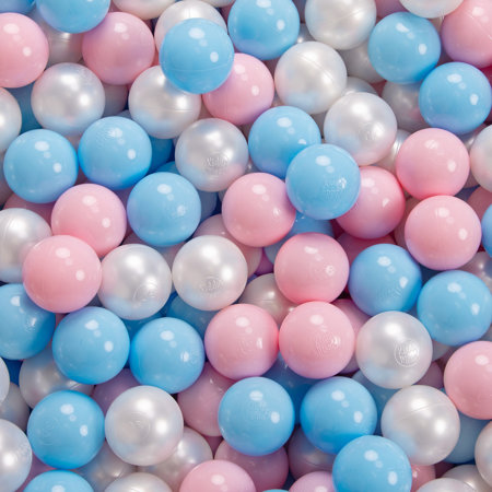 KiddyMoon Baby Foam Ball Pit with Balls 7cm /  2.75in Quarter Angular, Light Grey: Babyblue/ Powderpink/ Pearl