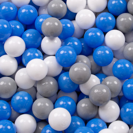 KiddyMoon Baby Foam Ball Pit with Balls 7cm /  2.75in Quarter Angular, Light Grey: Grey/ White/ Blue