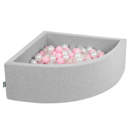 KiddyMoon Baby Foam Ball Pit with Balls ∅7cm / 2.75in Quarter Angular, Light Grey:Light Pink/Pearl/Transparent