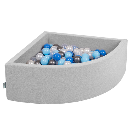 KiddyMoon Baby Foam Ball Pit with Balls 7cm /  2.75in Quarter Angular, Light Grey: Pearl/ Blue/ Babyblue/ Transparent/ Silver
