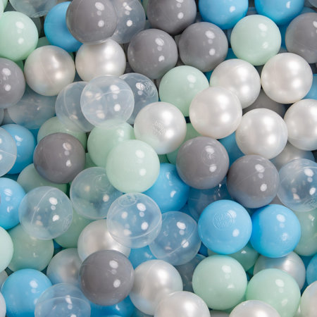 KiddyMoon Baby Foam Ball Pit with Balls ∅7cm / 2.75in Quarter Angular, Light Grey: Pearl/ Grey/ Transparent/ Baby Blue/ Mint