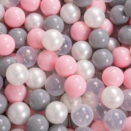 KiddyMoon Baby Foam Ball Pit with Balls 7cm /  2.75in Quarter Angular, Light Grey/ Pearl/ Grey/ Transparent/ Light Pink