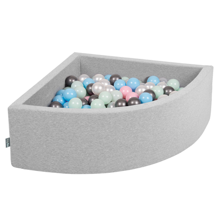 KiddyMoon Baby Foam Ball Pit with Balls 7cm /  2.75in Quarter Angular, Light Grey: Pearl/ Powderpink/ Babyblue/ Mint/ Silver