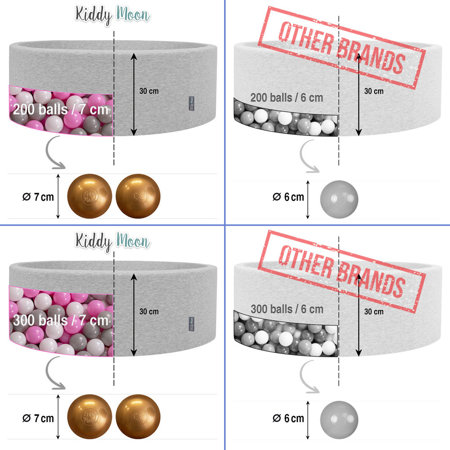 KiddyMoon Baby Foam Ball Pit with Balls 7cm /  2.75in Quarter Angular, Light Grey: Pearl/ Powderpink/ Silver