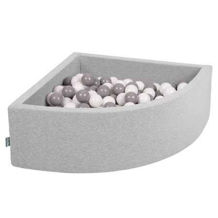 KiddyMoon Baby Foam Ball Pit with Balls 7cm /  2.75in Quarter Angular, Light Grey: White/ Grey