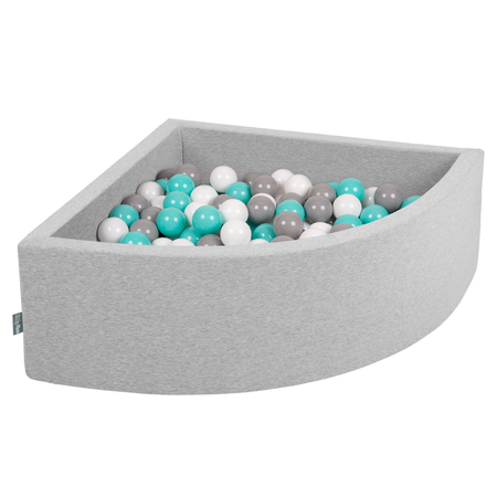 KiddyMoon Baby Foam Ball Pit with Balls 7cm /  2.75in Quarter Angular, Light Grey: White/ Grey/ Light Turquoise