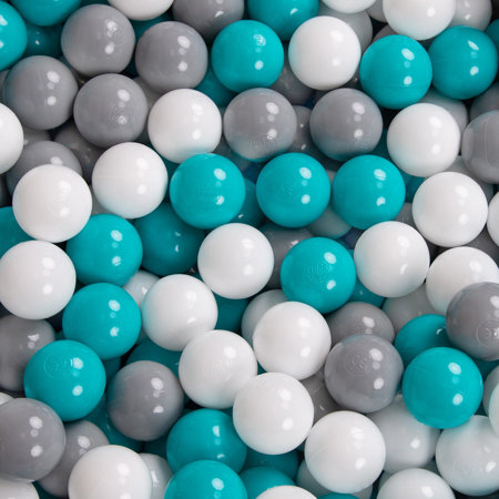 KiddyMoon Baby Foam Ball Pit with Balls 7cm /  2.75in Quarter Angular, Mint: Grey/ White/ Turquoise
