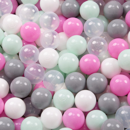 KiddyMoon Baby Foam Ball Pit with Balls ∅7cm / 2.75in Quarter Angular, Mint: Transparent/ Grey/ White/ Pink/ Mint