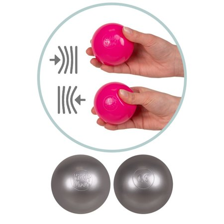 KiddyMoon Baby Foam Ball Pit with Balls 7cm /  2.75in Square, Dark Grey: Grey/ White/ Pink