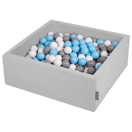 KiddyMoon Baby Foam Ball Pit with Balls 7cm /  2.75in Square, Light Grey: Grey/ White/ Babyblue