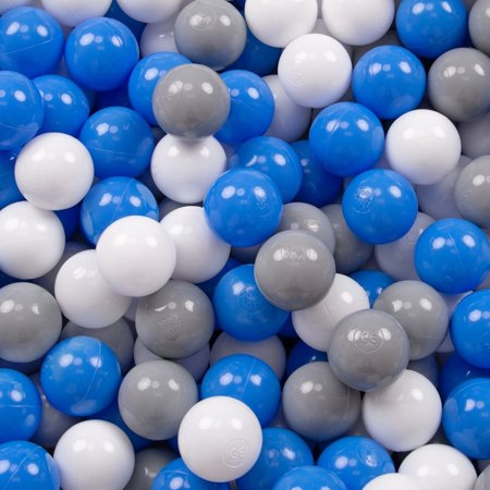 KiddyMoon Baby Foam Ball Pit with Balls ∅ 7cm / 2.75in Square, Light Grey:Grey/White/Blue