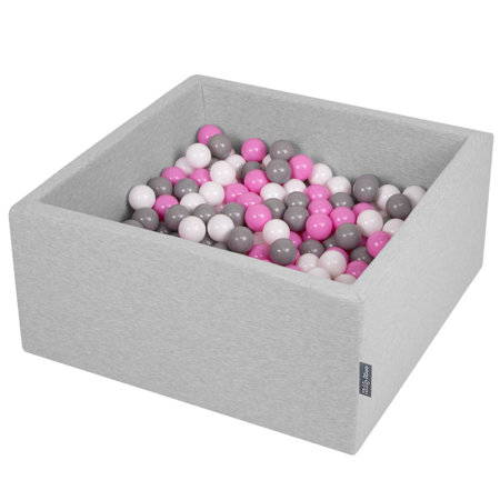 KiddyMoon Baby Foam Ball Pit with Balls ∅ 7cm / 2.75in Square, Light Grey:Grey/White/Pink