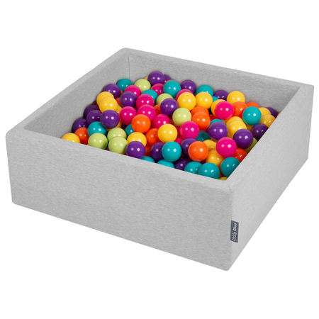 KiddyMoon Baby Foam Ball Pit with Balls 7cm /  2.75in Square, Light Grey: L Green/ Yellow/ Turq/ Orange/ Dpink/ Purple
