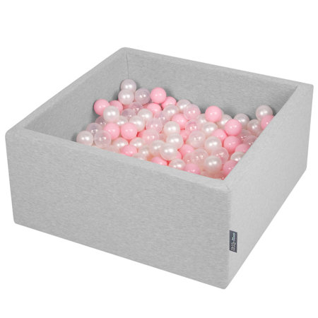 KiddyMoon Baby Foam Ball Pit with Balls ∅ 7cm / 2.75in Square, Light Grey:Light Pink/Pearl/Transparent