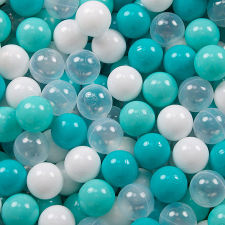 KiddyMoon Baby Foam Ball Pit with Balls ∅ 7cm / 2.75in Square, Light Grey:Light Turquoise/White/Transparent/Turquoise