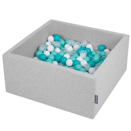 KiddyMoon Baby Foam Ball Pit with Balls ∅ 7cm / 2.75in Square, Light Grey: Light Turquoise/ White/ Transparent/ Turquoise