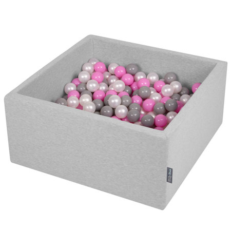KiddyMoon Baby Foam Ball Pit with Balls ∅ 7cm / 2.75in Square, Light Grey: Pearl/ Grey/ Pink
