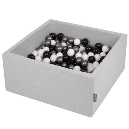 KiddyMoon Baby Foam Ball Pit with Balls 7cm /  2.75in Square, Light Grey: White/ Black/ Silver