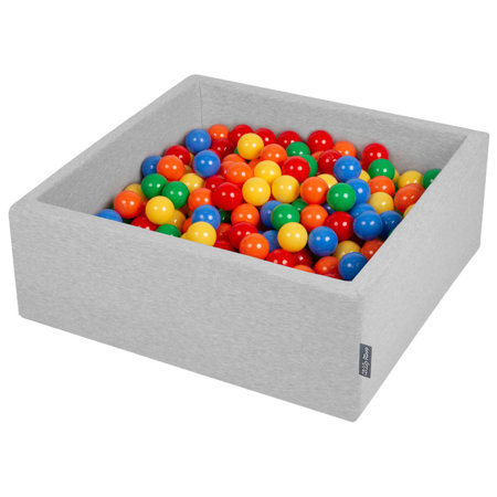 KiddyMoon Baby Foam Ball Pit with Balls ∅ 7cm / 2.75in Square, Light Grey:Yellow/Green/Blue/Red/Orange