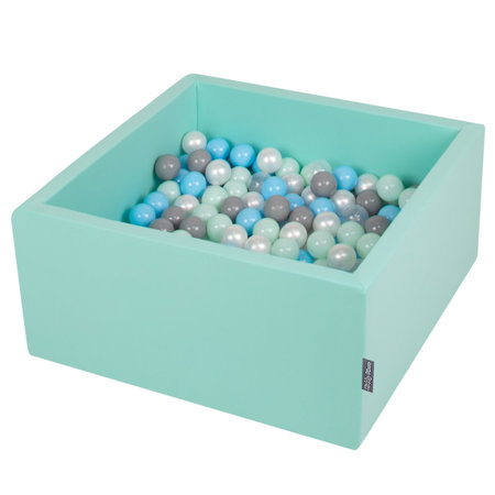 KiddyMoon Baby Foam Ball Pit with Balls 7cm /  2.75in Square, Mint: Pearl/ Grey/ Transparent/ Babyblue/ Mint