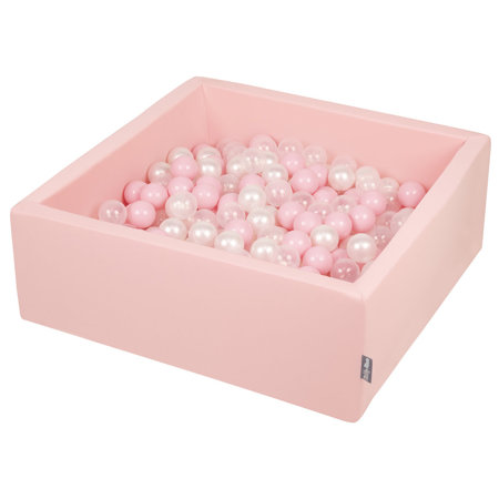 KiddyMoon Baby Foam Ball Pit with Balls 7cm /  2.75in Square, Pink: Light Pink/ Pearl/ Transparent