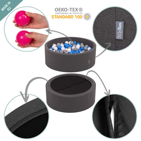 KiddyMoon Foam Ballpit Big Round with Plastic Balls, Certified Made In, Dark Grey: Grey-White-Turquoise
