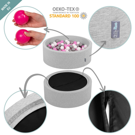 KiddyMoon Foam Ballpit Big Round with Plastic Balls, Certified Made In, Light Grey: Grey-White-Turquoise