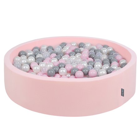 KiddyMoon Foam Ballpit Big Round with Plastic Balls, Certified Made In, Pink: Pearl-Grey-Transparent-Powder Pink