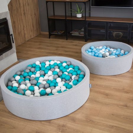 KiddyMoon Foam Ballpit Big Round with Plastic Balls, Certified Made In, Pink: Powder Pink-Pearl-Transparent