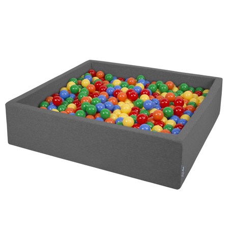 KiddyMoon Foam Ballpit Big Square with Plastic Balls, Certified Made In, Dark Grey: Yellow-Green-Blue-Red-Orange