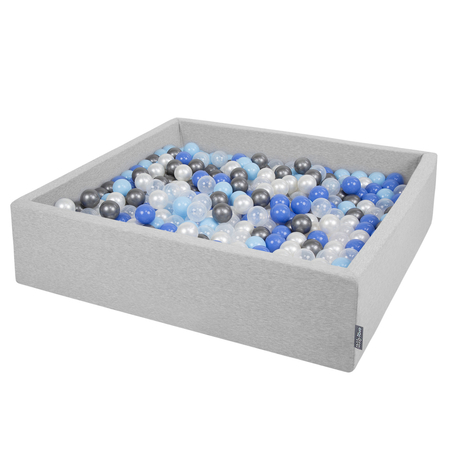 KiddyMoon Foam Ballpit Big Square with Plastic Balls, Certified Made In, Light Grey: Pearl-Blue-Babyblue-Transparent