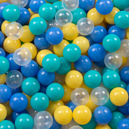 KiddyMoon Soft Plastic Play Balls ∅ 6cm / 2.36 Multi Colour Certified, Turquoise/Blue/Yellow/Transparent