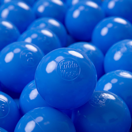 KiddyMoon Soft Plastic Play Balls 7cm/ 2.75in Mono-colour certified, Blue