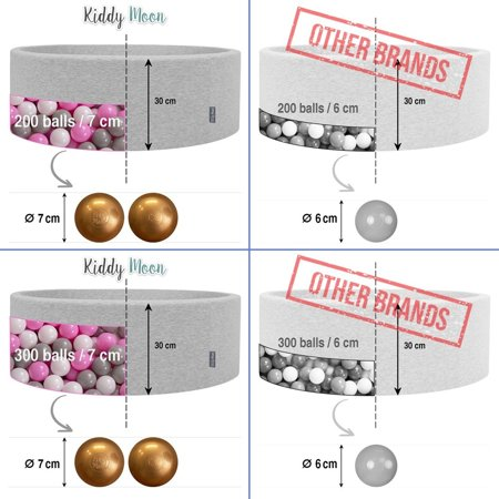 KiddyMoon Soft Plastic Play Balls 7cm/2.75in Mono-colour certified, Graphite Glitter