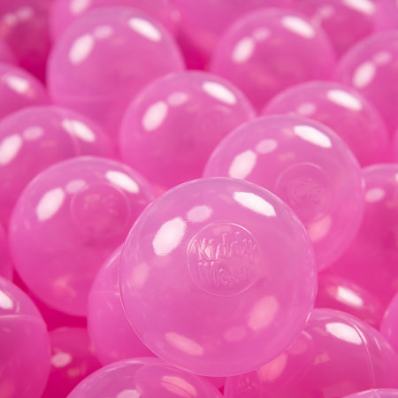 KiddyMoon Soft Plastic Play Balls ∅ 7cm/2.75in Mono-colour certified, Transparent Pink