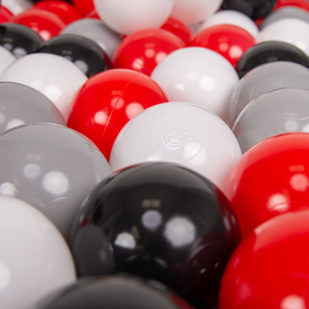 KiddyMoon Soft Plastic Play Balls ∅ 7cm/2.75in Multi-colour Certified, Grey/White/Red/Black