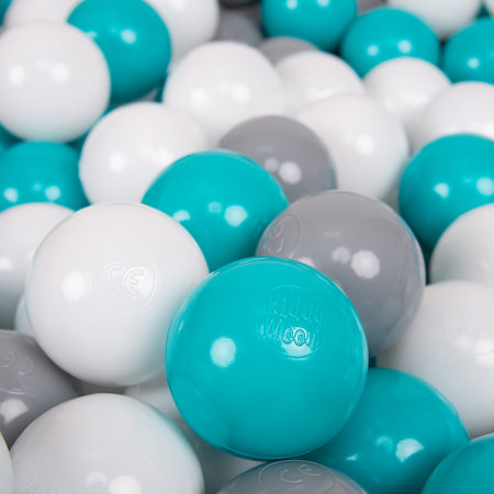 KiddyMoon Soft Plastic Play Balls ∅ 7cm/2.75in Multi-colour Certified, Grey/White/Turquoise