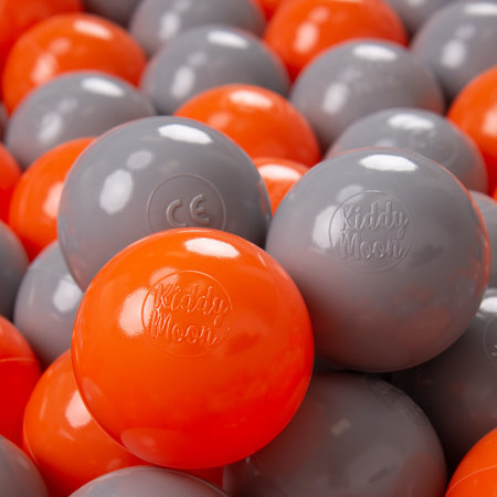 KiddyMoon Soft Plastic Play Balls 7cm/ 2.75in Multi-colour Certified, Orange/ Grey