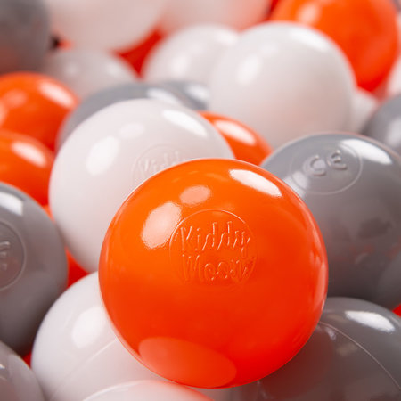 KiddyMoon Soft Plastic Play Balls ∅ 7cm/2.75in Multi-colour Certified, Orange/Grey/White