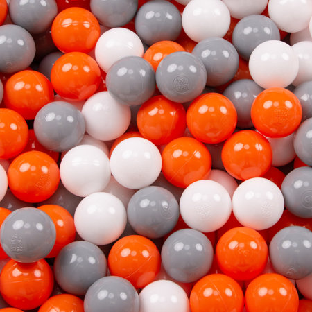 KiddyMoon Soft Plastic Play Balls 7cm/ 2.75in Multi-colour Certified, Orange/ Grey/ White