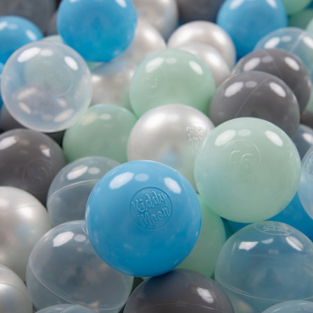 KiddyMoon Soft Plastic Play Balls 7cm/ 2.75in Multi-colour Certified, Pearl/ Grey/ Transparent/ Baby Blue/ Mint
