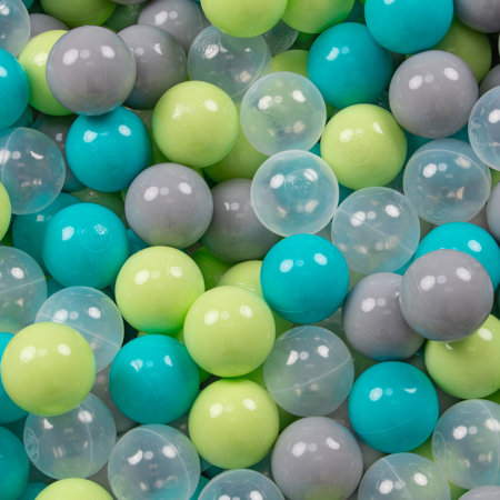 KiddyMoon Soft Plastic Play Balls ∅ 7cm/2.75in Multi-colour Certified, Turquoise/Light Green/Grey/Transparent