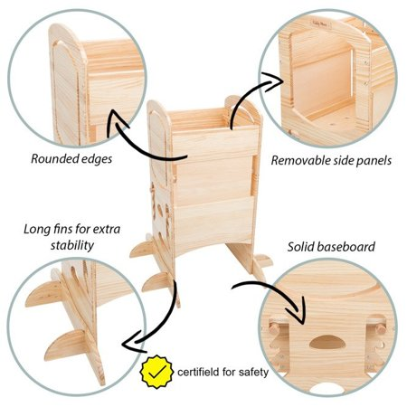 KiddyMoon Wooden Kitchen Helper Step Stool for Kids Toddlers ST-002,  Natural Wood