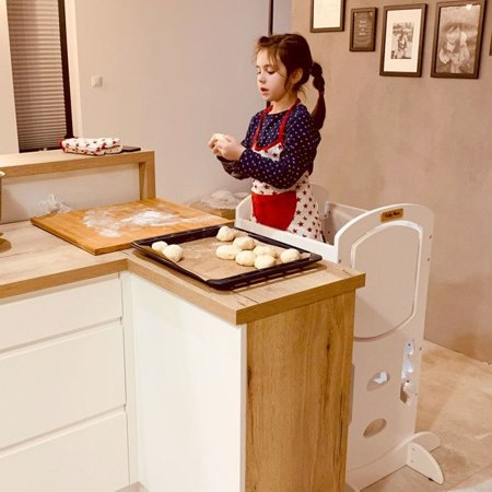 KiddyMoon Wooden Kitchen Helper Step Stool for Kids Toddlers ST-002, Plywood /  Grey