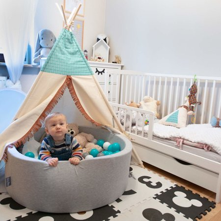 KiddyMoon Zipped Ball Pit Cover, Round Dark Grey
