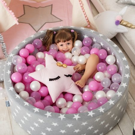 KiddyMoon Zipped Ball Pit Cover, Round White Stars