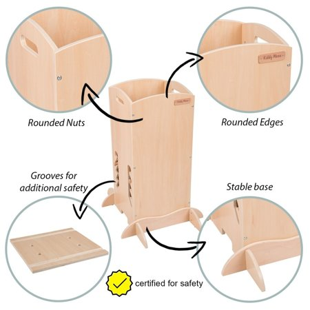 KiddyMoon wooden kitchen helper safety stand  ST-001, Plywood /  White